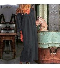 zanzea para mujer de la manga de soplo del cuello de v de la playa vestido de algodón floja ocasional de kaftan vestidos maxi -gris oscuro