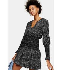 black and white shirred waist mini dress - monochrome