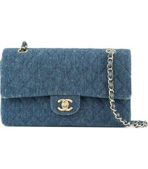 chanel pre-owned 1997-1999 denim double shoulder bag - blue
