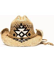 sparti cappello western geometria messicana bianco nero