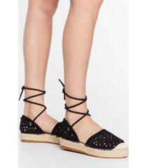 womens it's crochet with us tie espadrille sandals - black