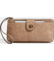 maurices womens taupe studded phone case wristlet brown