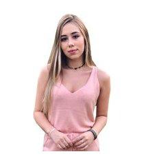 regata pink tricot básica de tricô modal decote v feminina