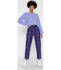 womens check up time plaid pants - purple
