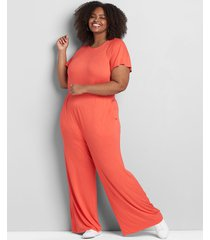 lane bryant women's short-sleeve crossover jumpsuit 34/36 starfish coral