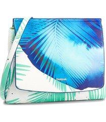 bolsa tiracolo desigual estampada azul/branca