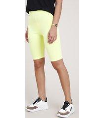 bermuda feminina básica ciclista amarela neon