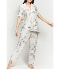 mood pajamas ultra soft floral classic short sleeve cropped pajama set