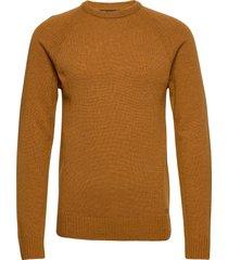 pullover ambitious stickad tröja m. rund krage brun blend