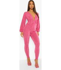 strakke gedraaide jumpsuit met textuur, pink