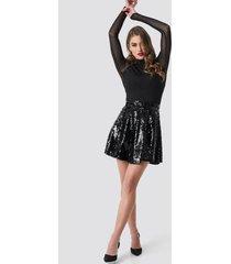 pamela x na-kd a-lined sequin skirt - black