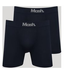 kit de 2 cuecas masculinas mash sem costura azul marinho