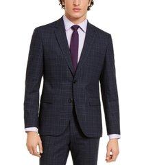 hugo hugo boss men's classic-fit stretch dark blue plaid suit jacket