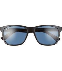 ray-ban 57mm square sunglasses - shiny black/ dark blue