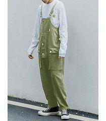 hombre casual tirantes sueltos big pocket bib mono overoles pantalones