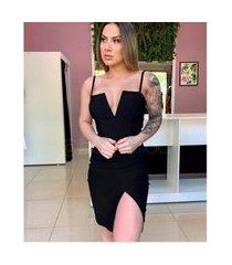 vestido modelador festa com bojo de malha grossa elegante v34 preto