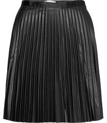 viaminna hw pleated short coated skirt kort kjol svart vila