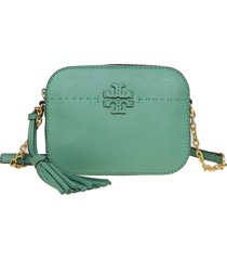 tory burch mcgraw shoulder bag room in leather green leather color