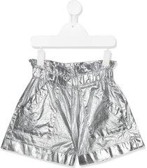 monnalisa paper-bag shorts - silver