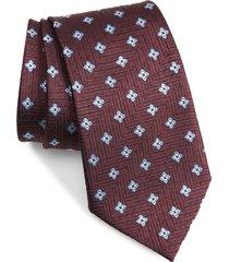 men's ermenegildo zegna floral silk tie, size regular - burgundy