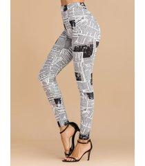 leggings de cintura alta con letras blancas