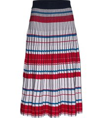 pleated knit midi skirt knälång kjol multi/mönstrad banana republic