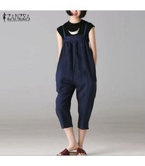 zanzea mujeres strappy plus size long romper jumpsuit playsuit club party overol -azul marino