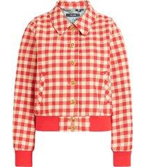 isa collar jacket nimes check red