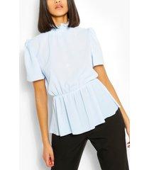 shirred high neck keyhole blouse, light blue
