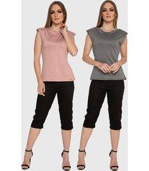 kit 2 blusas regata muscle tee carbella regata modal confort com ombreira rosa/cinza - kanui