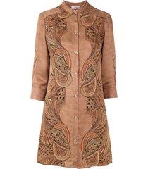 amir slama silk shirt dress - brown