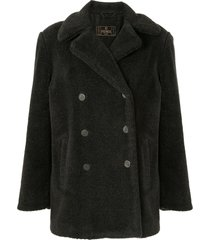 fendi pre-owned double-breasted teddy coat - grey