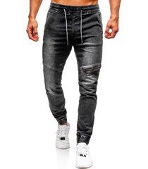 hombres casual rodilla cremallera cintura elástica jeans con cordón