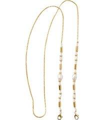 cadena para tapabocas y gafas pearl baño oro 24kt - pájarolimón