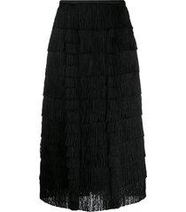 marco de vincenzo layered fringe skirt - black