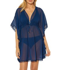 women's bleu by rod beattie pompom cover-up caftan, size large - blue
