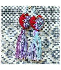wool and cotton curtain tiebacks, 'passionate hearts' (set of 4) (mexico)