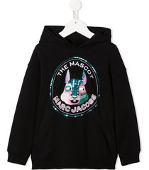 little marc jacobs the mascot sequin-embellished hoodie - black