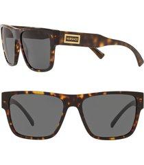 versace 56mm flat top sunglasses - havana/ grey