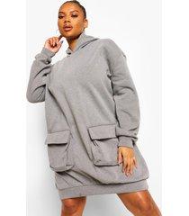 plus acid wash gebleekte oversized sweatshirt jurk met zakken, charcoal