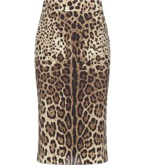 dolce & gabbana leopard print silk stretch skirt