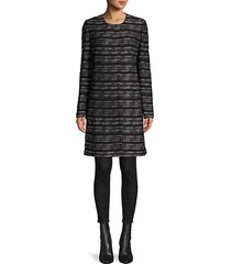 abstract graphic-knit topper coat
