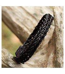 braided leather wristband bracelet, 'fun times in dark brown' (thailand)