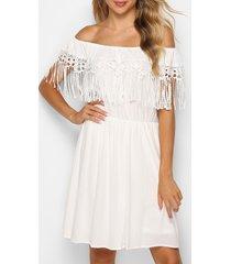 off the shoulder fringed lace insert dress