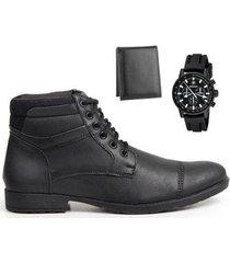 coturno masculino conforto leve + carteira + relógio casual - masculino