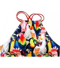 bikini peto cuello alto cruzado loros multicolor samia