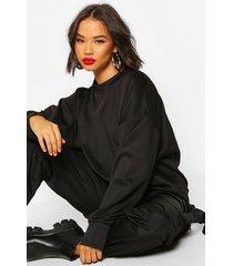 high neck pinhole oversize sweatshirt, black