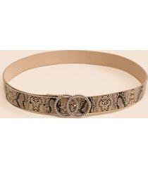 women's jenna snake double circle belt in black/white by francesca's - size: m