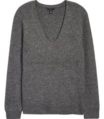 women's halogen balloon sleeve sweater, size large - grey