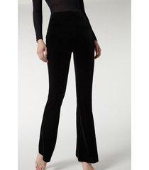 calzedonia flare velvet leggings woman black size m